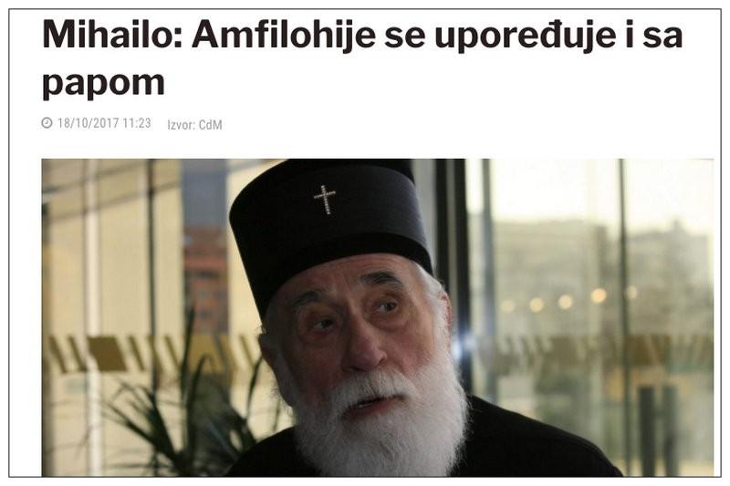 """O mitropolitu CPC, Vladici Mihailu, Amfilohije kaže da je """"Dedeić kao klirik Carigradske patrijaršije lišen svešteničkog čina i isključen iz crkve i na njega je stavljeno prokletstvo""""."""