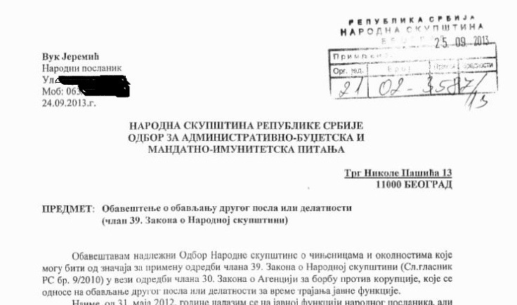 In September 2013th, Jeremic requested permission from the relevant committee of the Serbian Parliament to sign a contract with CEFC. The letter states that the area of its operation will be Africa and Latin America. Today, when corrupt officials in Africa arrested his employer Patrick Ho and close associate Sheik Gadio, contrary to the then letter, Jeremic denies that the CEFC advised on business in Africa
