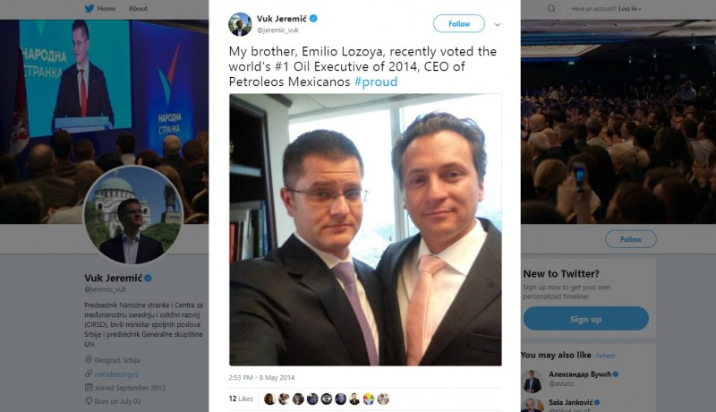 Emilio Lozoya, whom Jeremic calls his brother, became wellknown to the world public after the special Mexican prosecutor publicly linked him with mediation in giving 10 million dollars of bribes to former President of Mexico Enrique Pena Nieto during the presidential campaign in 2012