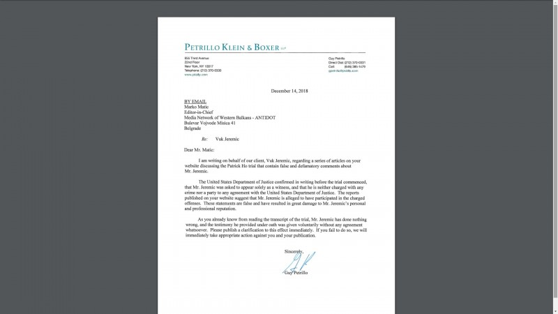 The attempt to pose pressure: The letter that was sent to our portal from Jeremic's lawyer in New York