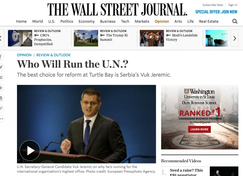 The fact that the Wall Street Journal led Vuk Jeremic's campaign for the place of the UN Secretary despite indicators that he had no chances, points to in-advance paid PR activities via the Contract with 30 Point Strategies Company.