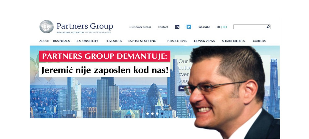 PARTNERS GROUP DENIES: JEREMIĆ DOES NOT RECEIVE HIS FUNDING FROM OUR INVESTMENT FUND